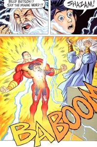 Billy receives Solomon's wisdom, Hercules' strength, Atlas' stamina, Zeus' power, Achilles' courage, and Mercury's speed to become Captain Marvel. Art by Jeff Smith and Steve Hamaker. Copyright DC Comics.